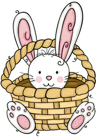 Cute bunny inside on basket