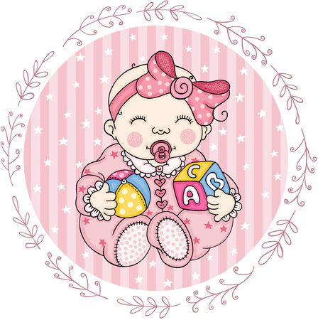 Pink round label with cute baby girl playing  イラスト・ベクター素材