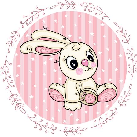 Pink round label with cute bunny girl
