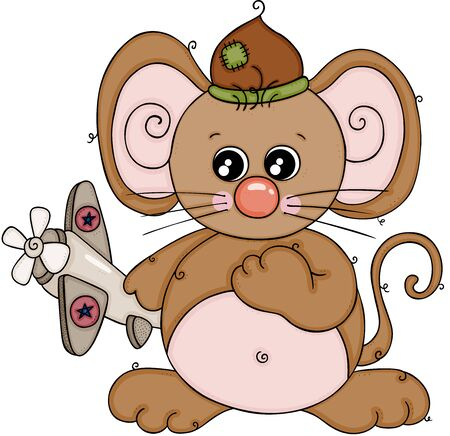 Cute brown mouse playing with little airplane Vector Illustration