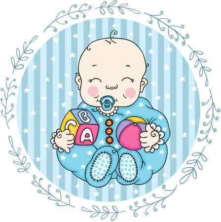 Blue round label with cute baby boy playing  イラスト・ベクター素材