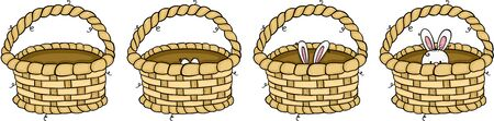 Cute rabbit peeking in different positions inside a basket