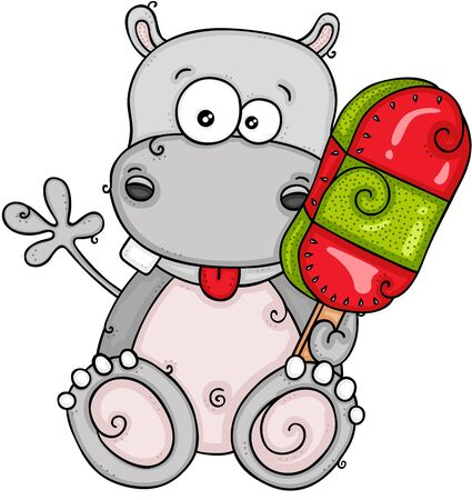 Funny hippo eating ice cream on a stick