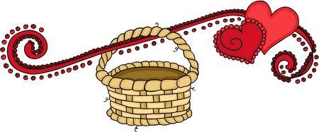Red hearts of love banner with empty basket hanging Çizim