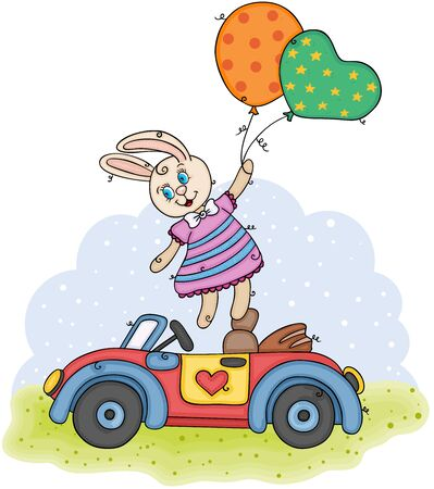 Children illustration with cute bunny flying holding balloons and small car Ilustração