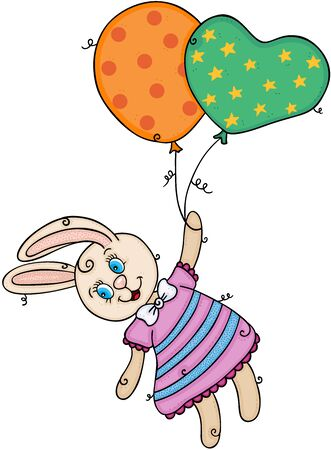 Cute bunny flying holding funny balloons