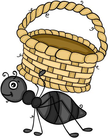 Little ant carrying an empty basket