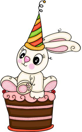 Little bunny with party hat sitting on chocolate cake