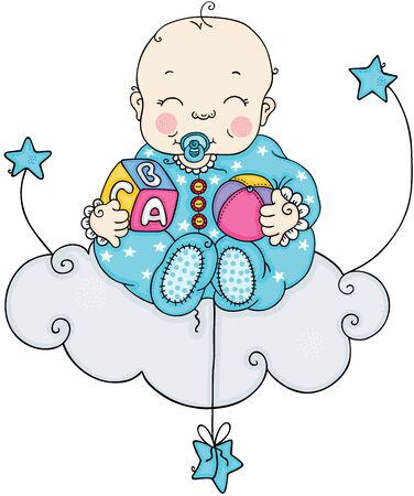 Baby boy sitting on cloud with blue stars