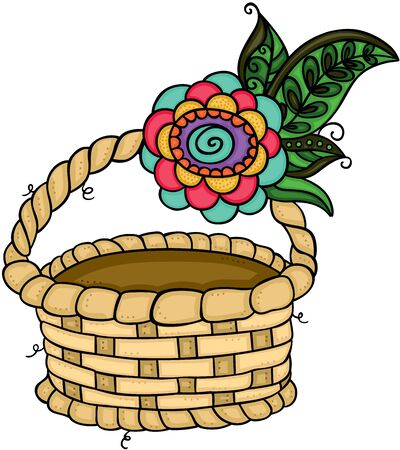 Wicker basket empty with flower