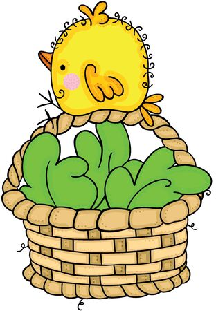 Little yellow bird on wicker basket with green leaves Ilustracja