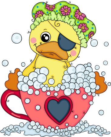 Pirate duck taking a bath on love tea cup