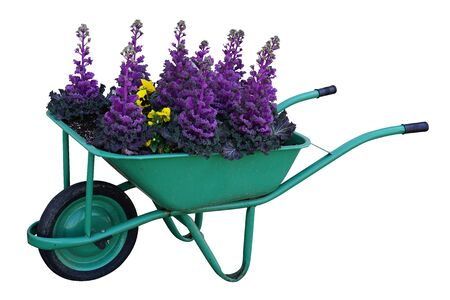 Green garden cart overflowing full with flowers