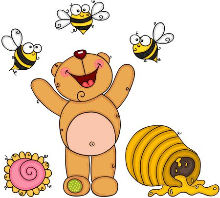 Happy teddy bear on garden with bees and honey Vettoriali