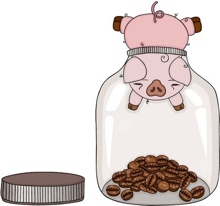 Pig head stuck in glass jar with beans of coffee