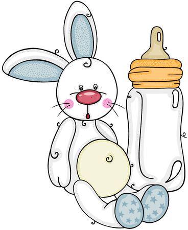 Cute baby boy bunny with baby milk bottle