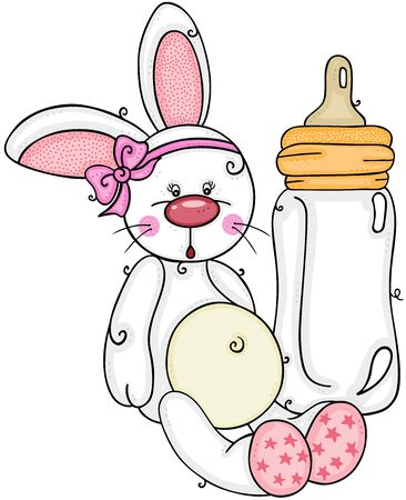 Cute baby girl bunny with baby milk bottle  イラスト・ベクター素材
