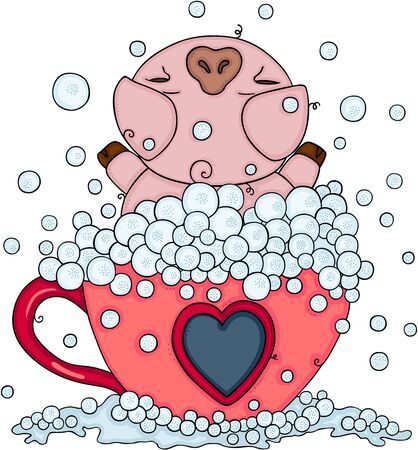 Pig bathing in tea cup with soap bubbles Ilustracja