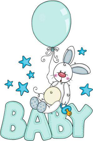 Baby boy illustration with cute bunny  イラスト・ベクター素材