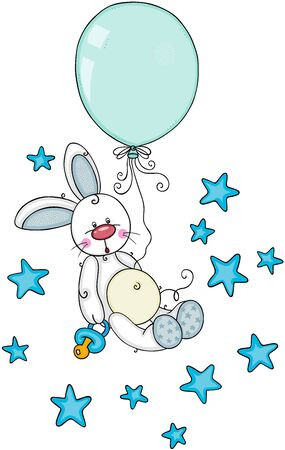 Cute baby boy bunny with pacifier and balloon flying on stars