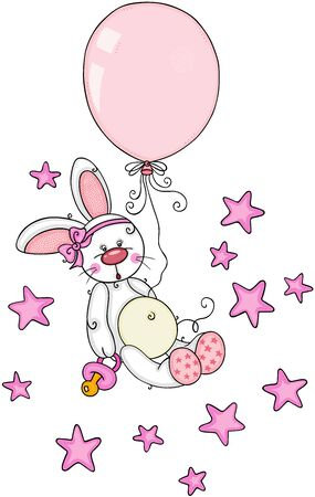 Cute baby girl bunny with pacifier and balloon flying on stars