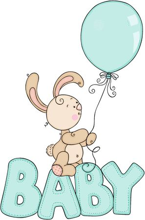 Cute bunny holding a balloon on word baby