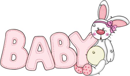 Cute little bunny with word baby of pink