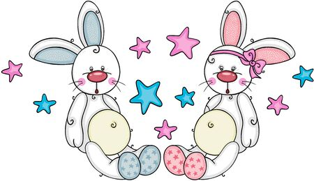 Two cute baby boy and girl bunnies with stars