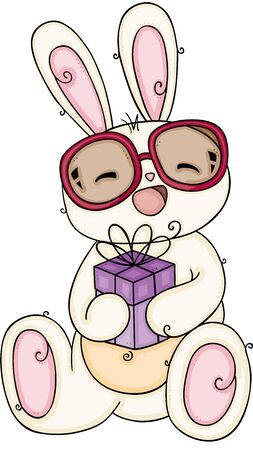 Cute bunny with glasses holding a small gift