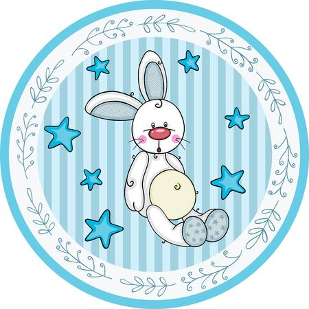 Blue round baby shower sticker labels with boy bunny  イラスト・ベクター素材