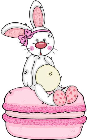 Cute girl bunny sitting on pink macaron