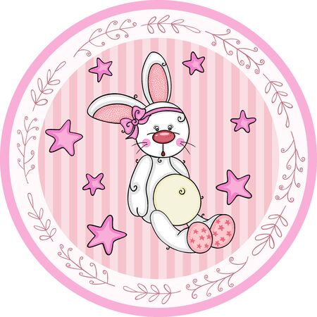 Pink round baby shower sticker labels with girl bunny  イラスト・ベクター素材