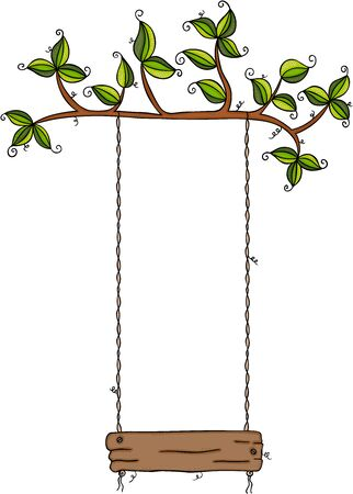 Brown rope swing hanged on tree with green leaves