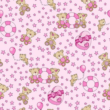 Pink seamless background with love teddy bears and stars  イラスト・ベクター素材