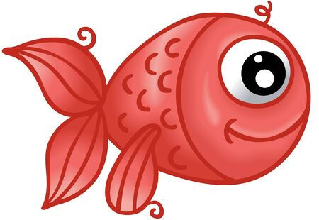 Cute red fish on a white background Çizim