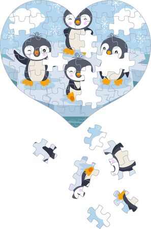 Heart shaped puzzle of funny penguins playing on ice