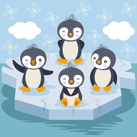 Children illustration with funny penguins playing on ice