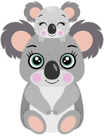 Mum koala with her baby on head Ilustración de vector