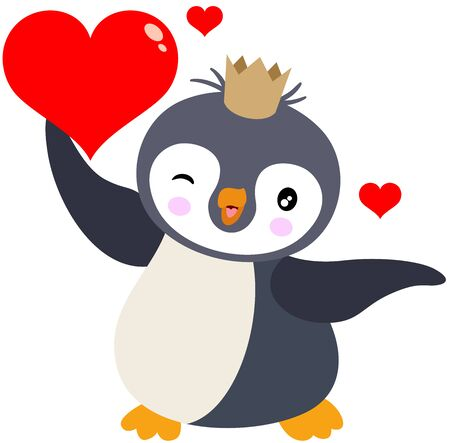 Cute king penguin running holding a red heart