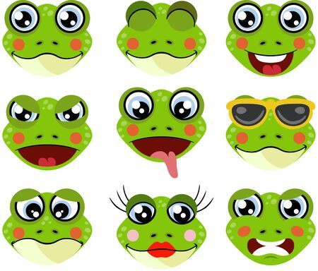 Faces of frogs with feature a different expressions