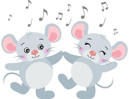 Cute couple of mice dancing