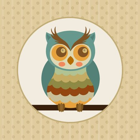 Vintage illustration with old owl