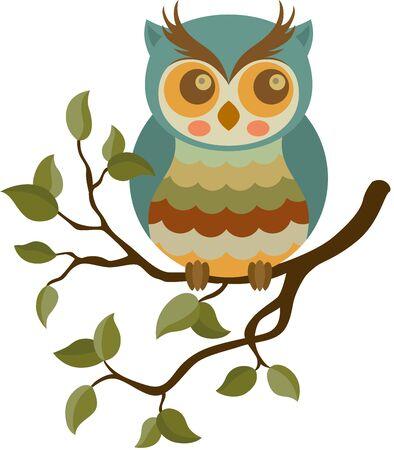 Vintage owl on branch with leaves Ilustracja