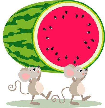 Two little mice carrying a cut watermelon Çizim