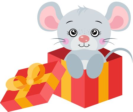 Cute gray mouse going out of red gift open