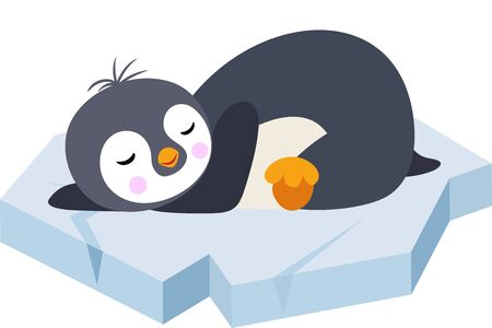 Cute penguin sleeping lying on a ice floe Stock Illustratie