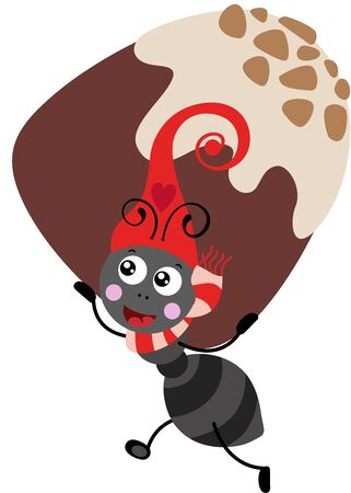 Cute ant with red hat carrying a chocolate bonbon