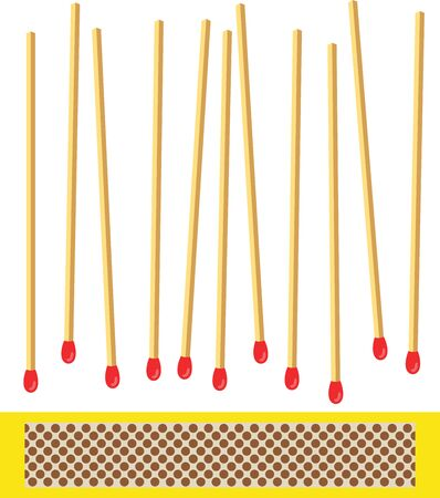 Matchbox with various matches scattered