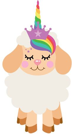 Cute lamb with unicorn horn 向量圖像