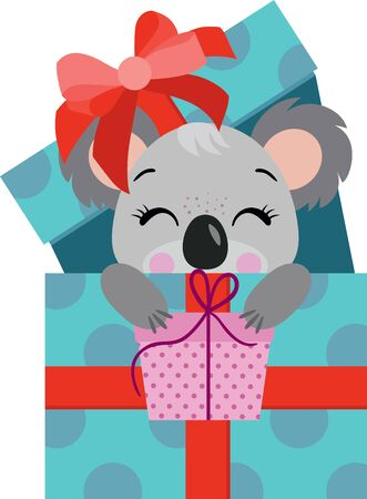Cute koala going out birthday gift holding a small gift